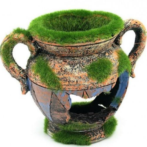 Resin Vase with Moss Aquarium Decoration - best-pet-store-supplies