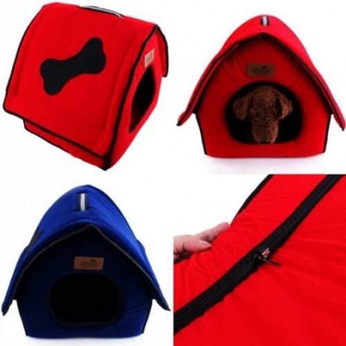 Kennel Cute Bone Flocking Cloth Pet Bed