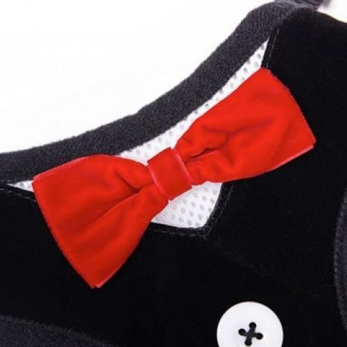 Harness Vest Tuxedo Pet Collar with Red Bow - best-pet-store-supplies