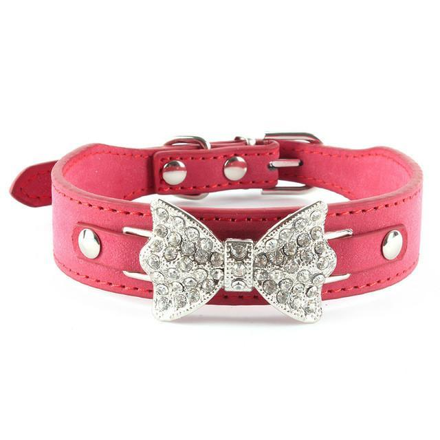 Crystal Bow Leather Pet Collar - best-pet-store-supplies