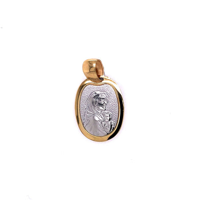 Oval Madonna Medal - 14kt Two-Tone Gold