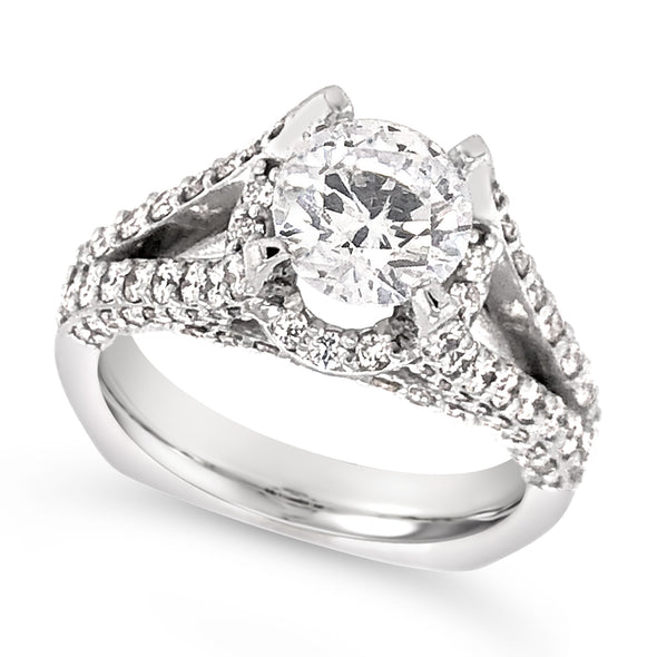 Split Shank and Diamond Halo Engagement Ring