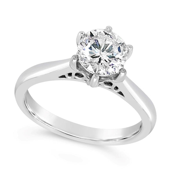 Six Prong Scroll Detail Solitaire Engagement Mounting