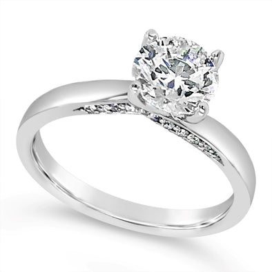 Diamond Solitaire Engagement Mounting with Interior Diamond Detail