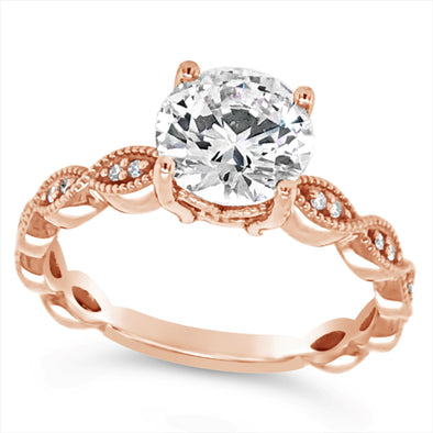 Rose Gold Milgrain Edge Diamond Engagement Mounting
