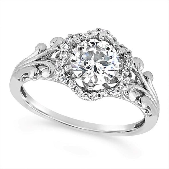 Vintage Style Diamond Halo Engagement Mounting