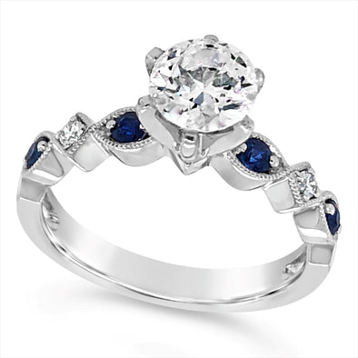 Sapphire and Diamond Engagement Mounting