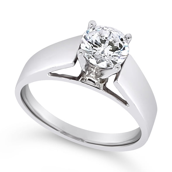 Wide Cathedral Style Solitaire Engagement Mounting