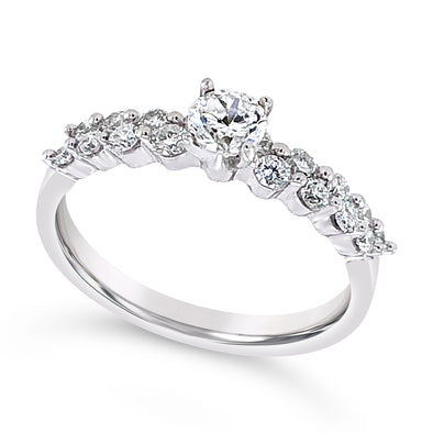 Eight Diamond Engagement Mounting and Matching Wedding Band