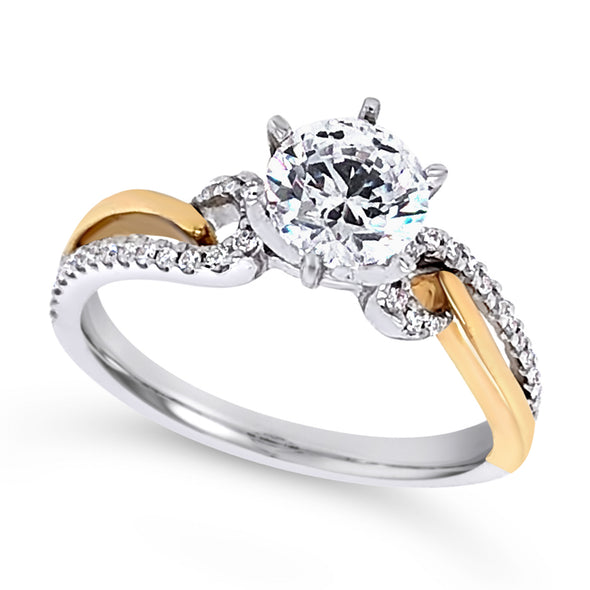 Two-Tone Gold Diamond Swirl Accented Engagement Mounting