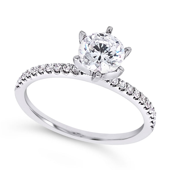 Single Row Diamond Engagement Mounting with Six Prong Head