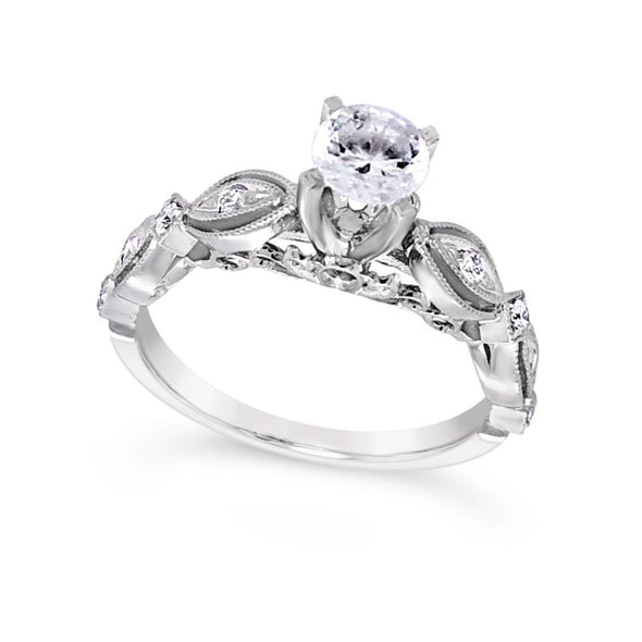 Milgrain Edge Tapered Diamond Engagement Mounting