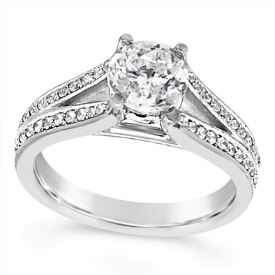 Channel Set Split Shank Diamond Engagement Mounting