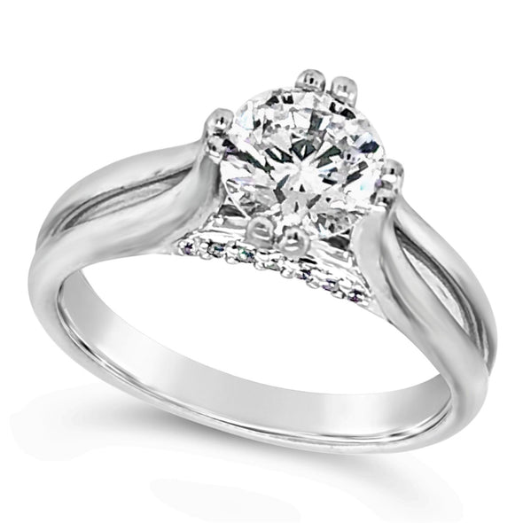 Solitaire Engagement Mounting with Diamond Detail