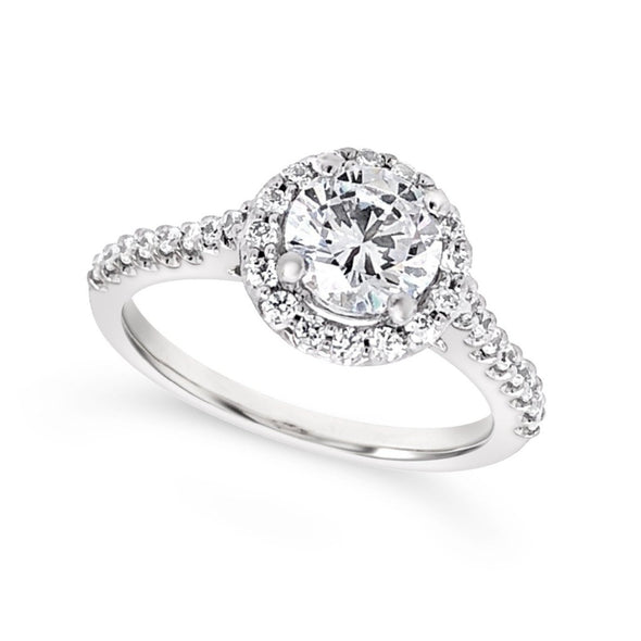 Round Diamond Halo and Single Row Diamond Engagement Mounting