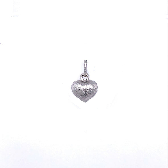 Small Reversible Puffed Heart - 14kt White Gold