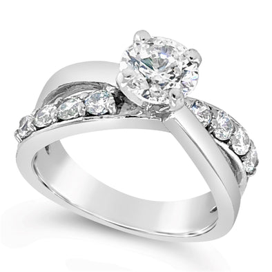 Diamond Accented Crossover Design Engagement Mounting