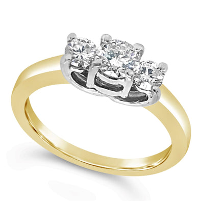 Yellow Gold and Three Stone Diamond Engagement Ring