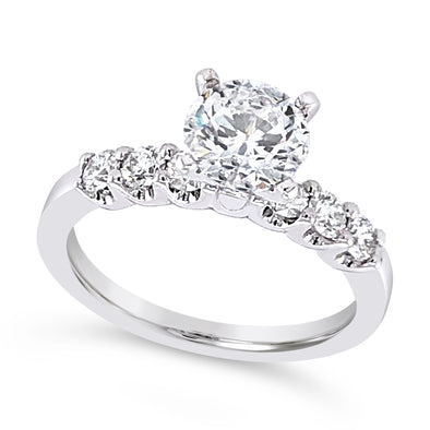 Six Diamond Scalloped Design Engagement Mounting