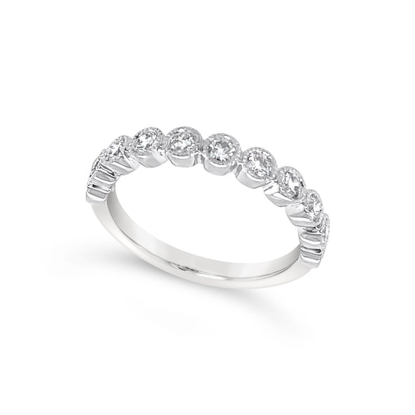 Round Bezel Set Milgrain Edge Diamond Wedding Band - .50 carat t.w.