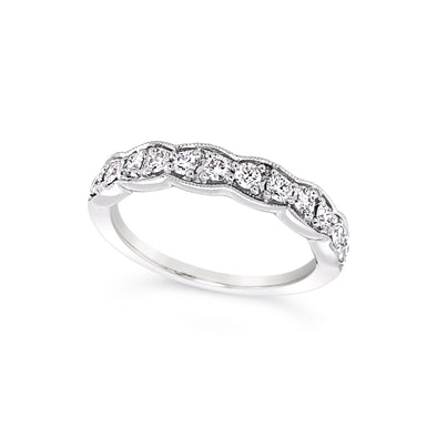 Tapered Milgrain Edge Diamond Wedding Band - .53 carat t.w.