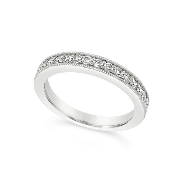 Channel Set Milgrain Edge Round Diamond Wedding Band - .52 carat t.w.