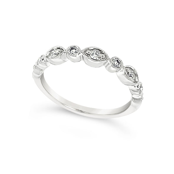 Marquise and Round Shaped Diamond Wedding Band - .25 carat t.w.