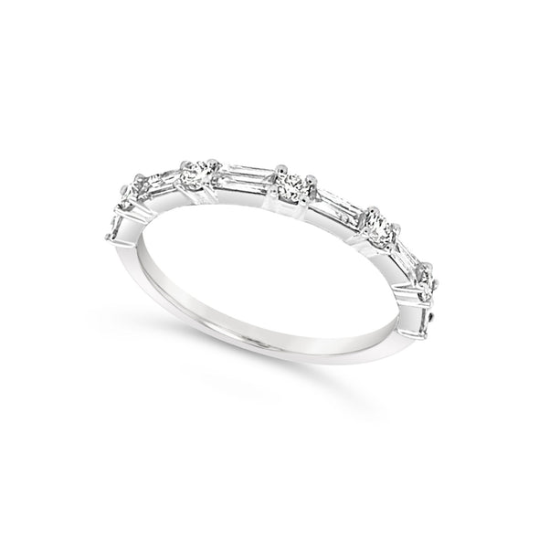 Baguette and Round Diamond Wedding Band - .50 carat t.w.