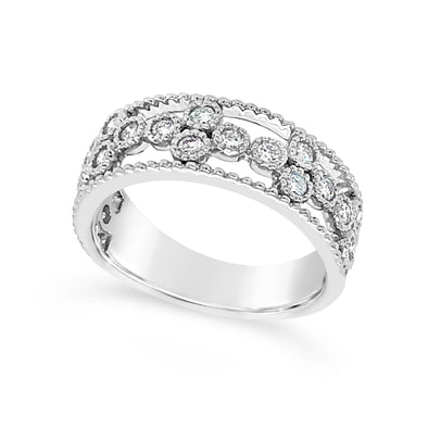 Diamond Open Flower Design Ring