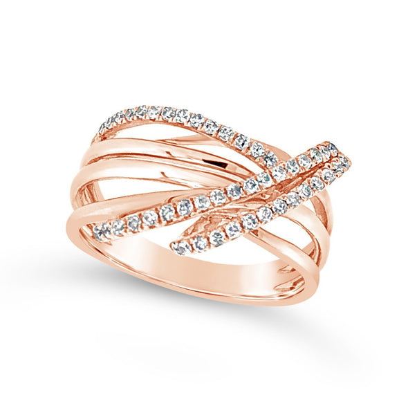 Three Row Diamond and Rose Gold Cross-Over Ring