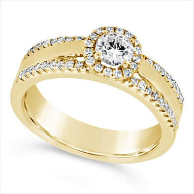 Yellow Halo Diamond Engagement Ring