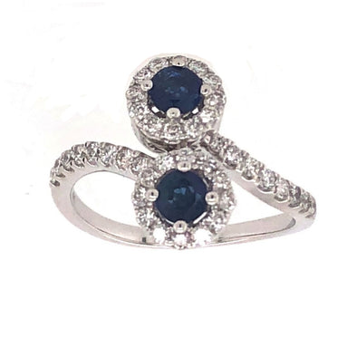 Sapphire and Diamond Bypass Design Ring