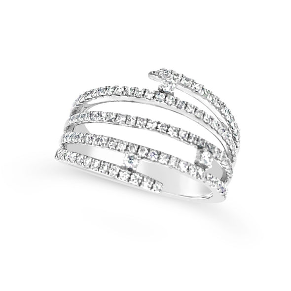 Five Row and Single Diamond Accented Contemporary Open Ring