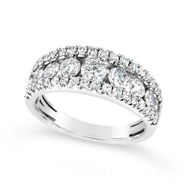 Tapered Round Diamond Open Style Ring