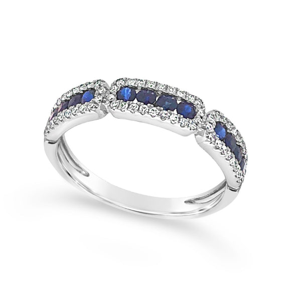 Sapphire and Diamond Ring with Tapered Design