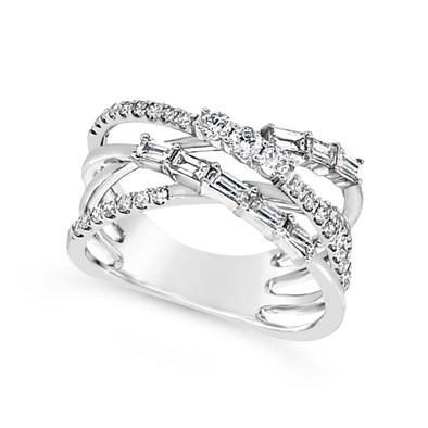 Round and Baguette Diamond Four Row Cross-Over Ring