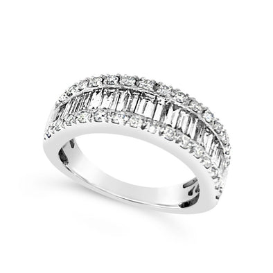 Baguette Diamond Ring with Round Diamond Edges