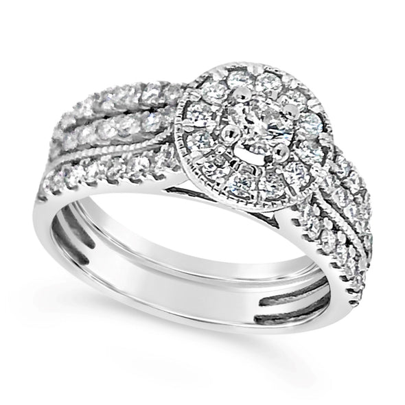 Diamond Halo and Double Shank Engagement Ring and Matching Wedding Band