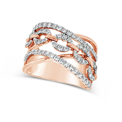 Rose Gold and Diamond Link Pattern Cross-Over Ring