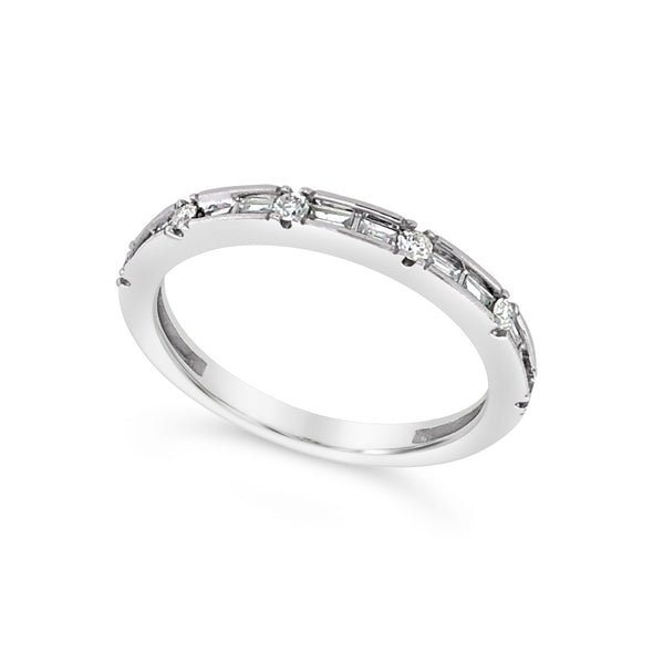 Baguette and Round Diamond Wedding Band - .25 carat t.w.