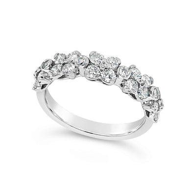 Flower Design Diamond Cluster Band