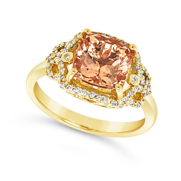 Cushion Cut Morganite and Diamond Halo Ring