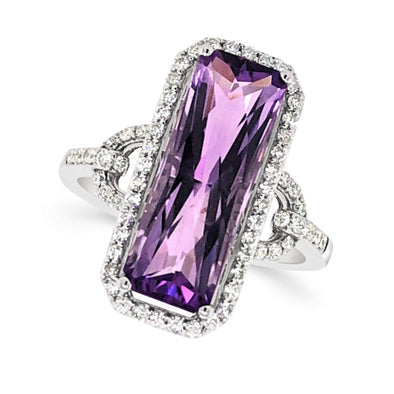 Radiant Cut Fancy Amethyst and Diamond Halo Ring
