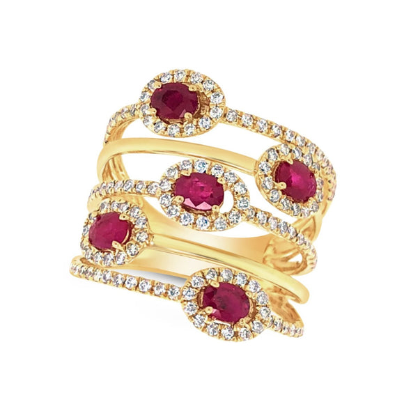 Five Row Ruby and Diamond Contemporary Ring