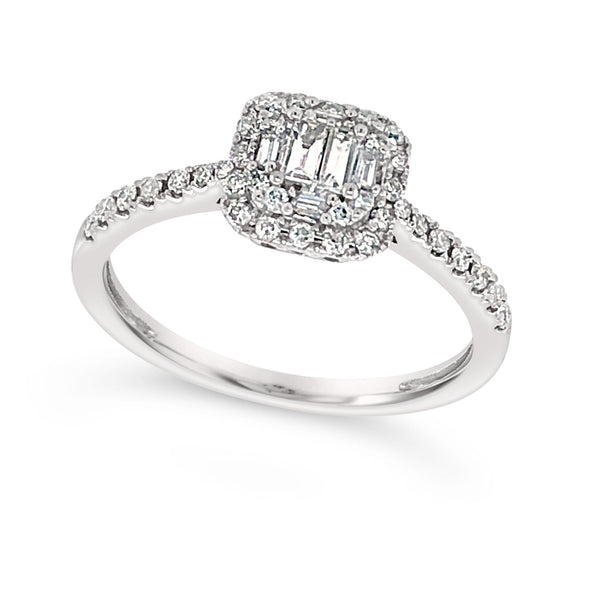Baguette Cluster and Round Diamond Halo Ring