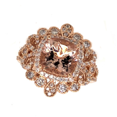 Vintage Style Morganite and Diamond Ring