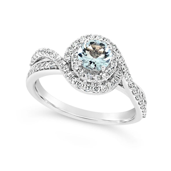 Aquamarine and Double Diamond Halo Ring