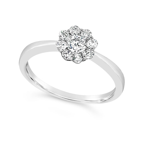 Flower Design Diamond Cluster Solitaire Ring