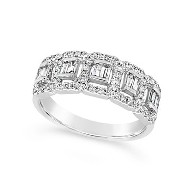 Baguette and Round Diamond Halo Band