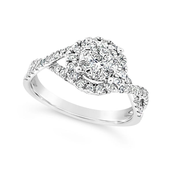 Diamond Cluster Halo and Crossover Shank Design Ring